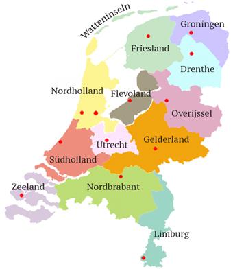 bundesländer niederlande karte Provinzen
